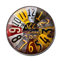 This License Plate clock measures 14 inches by 14 inches and weighs in at 3 lb(s). This clock is hand made in the USA using heavy gauge american steel and a process known as sublimation, where the ima