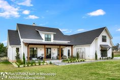 There's no shortage of curb appeal for this beautiful 4 bedroom modern farmhouse plan. Visit our site for the newest Farmhouse House Plans. Modern Farmhouse Exterior, Rustic Farmhouse, Farmhouse Home Plans, Southern Farmhouse, Farmhouse Front Porches, Architectural Design House Plans, Architecture Design, Farm Kitchen Ideas, Kitchen Decor