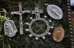 Religious lot charms crucifix cross Vintage by SouthernSisAntiques