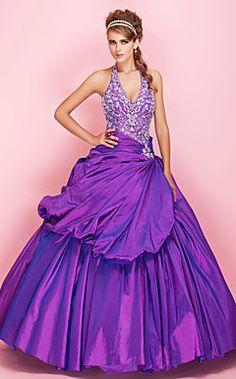 Ball Gown Halter Floor-length Beaded Taffeta Prom Dress With Pick-up Skirt