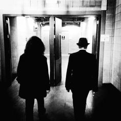 Leonard Cohen and Sharon Robinson before a show in London.