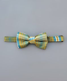 Loving this Yellow & Blue Plaid Bow Tie on #zulily! #zulilyfinds