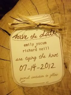 mason jar save the date with raffia bow or bakers