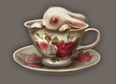 Bunny in Teacup by Benjamin Lacombe Illustrations, Illustration Art, Surreal Tattoo, Bunny Tattoos, Alice Madness, Candy Art, Alice In Wonderland Theme, Lowbrow Art, Pop Surrealism