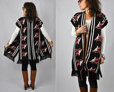 Fringed Wool Maxi Sweater VEST Cardigan Duster by LaDeaDeiSogni