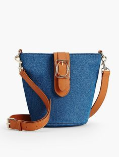 Square & Oval Bucket Bag - Denim - Talbots