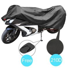 Black and Red Wonderoto Motorcycle Cover Universal Protective Outdoor Cover with Storage Bag Waterproof Dustproof Ultra Violet Protective