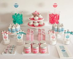 twist party idea- spa products that appear as a dessert table!