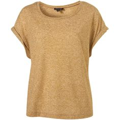Boxy Flecked Roll Sleeve Tee (870 UYU) ❤ liked on Polyvore featuring tops, t-shirts, shirts, blusas, tees, women, boxy tees, polyester shirt, boxy fit t shirt and beige top