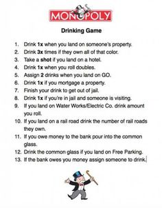 Birthday Games For Girls Life 35 New Ideas - Drinking games for parties - Monopoly Drinking Game, Drinking Games For Parties, Couples Drinking Games, Friends Drinking Game, Drinking Jenga, Adult Drinking Games, Alcohol Games, Alcohol Drink Recipes, Adult Games