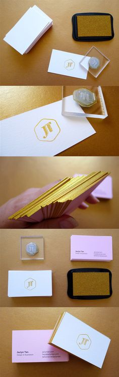 Elegant Hand Stamped Gold Edge Painted Business Card Design
