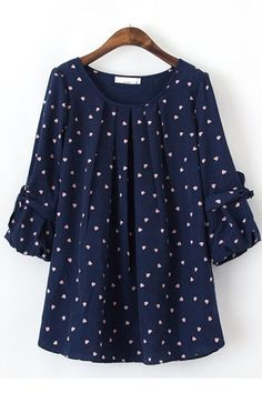 Navy blouse with heart shaped polka dots. Cute for teaching/internship Beautiful Outfits, Cute Outfits, Hijab Fashion, Fashion Outfits, Jean Skirt Outfits, Short Sleeve Collared Shirts, Weekend Wear, Blouse Patterns, Look Chic