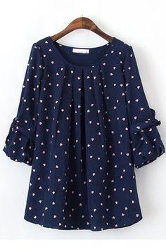 Navy blouse with heart shaped polka dots