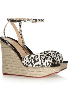 Melody leopard-print cotton and rope wedge sandals by Charlotte Olympia