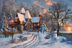 Christmas Cottage - Tableau, neige, peinture, lumières, arbre de noël, hiver, bonhomme de neige