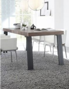 Table contemporaine couleur bois foncé LENEXA