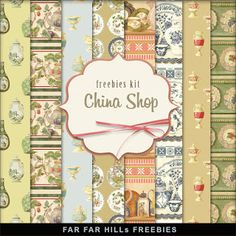 FREE Freebies Kit of Vintage Style Backgrounds - China Shop BY Far Far Hill