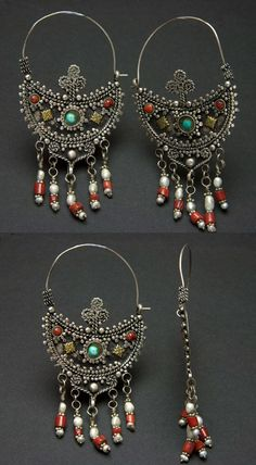 Afghanistan | Antique earrings; silver, coral, turquoise and freshwater pearls.  From the Kuchi people | 165€
