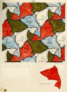 Study on M.C. Escher – Fish (No. 20) Do simple tessellations with students
