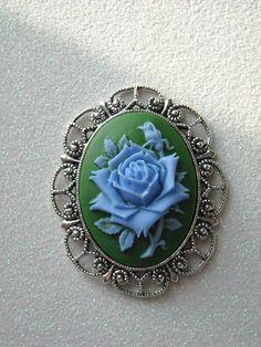 Blue Rose Antique Silver Brooch by OctoberPetals on Etsy