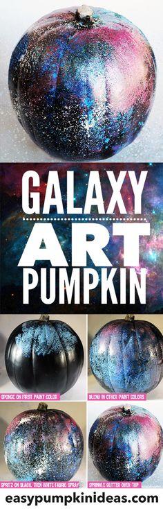 Make your own galaxy art pumpkin using paints and glitter.  A fun non-traditional, no-carve pumpkin idea!