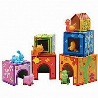 Topanimo Stacking Toy - Six beautifully made, brightly colored houses stack and nest for hours of manipulation and experimenting.