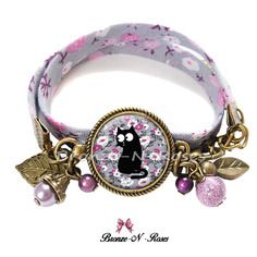 """Bracelet  """" chat fleurs liberty """" bijou cabochon fantaisie cadeau"""