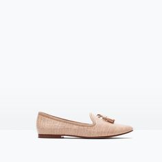 Pale pink slippers with tassles | Zara