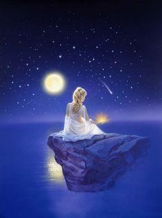 Trademark Global Kirk Reinert 'Gift Of Healing' Canvas Art - 24 x 32 Beautiful Fantasy Art, Beautiful Moon, Fantasy Photography, Girl Photography, Artist Canvas, Canvas Art, Moon Pictures, Angel Art, Moon Art