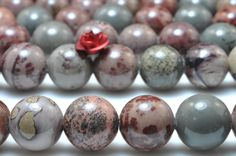 37 pcs of Natural Grass flower Jasper stone smooth round beads in 10mm (06731#)