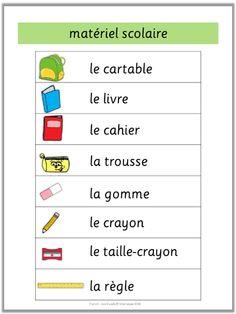 Vocabulaire de la classe - le matériel scolaire