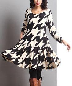 Look at this #zulilyfind! Black Houndstooth Swing Dress #zulilyfinds