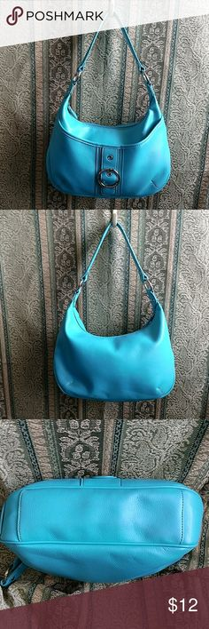 "Nine & Co Teal Blue Hobo Bag Absolutely gorgeous, medium size blue hobo bag! Single strap. Lime green lining which adds a nice contrast. This  purse is in  incredibly good pre-owned condition. A few barely discernable  pen  marks inside. Outside is immaculate. Purse zips completely closed. Height with strap 16"". Width at widest point 13.5"". Nine & Co. Bags Hobos"