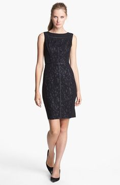 Ellen Tracy Lace & Faux Leather Sheath Dress available at #Nordstrom