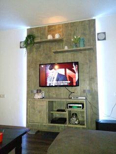 Tv meubel van steigerhout met led strips!