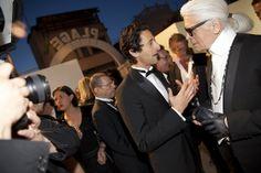 Adrien Brody, Eric Pfrunder (Chanel), Karl Lagerfeld