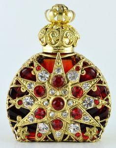 red perfume bottles | Vanity Perfume Bottle Gold Tone Filigree Rubine Color Glass Red ...