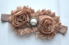 Brown Vintage Shabby flowers headband Baby by AubreyGianna on Etsy, $7.89