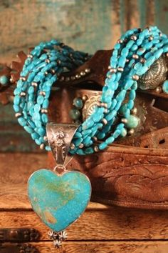 turquoise beads . heart