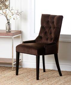 Zuma Microsuede Tufted Dining Chair, Dark Brown