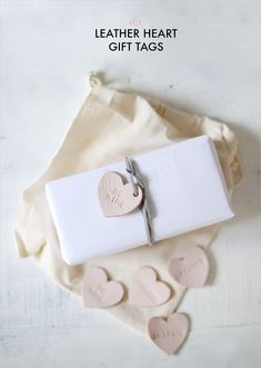 DIY leather heart gift tags
