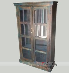 Wooden Painted Almirah Wardrobe with Glass Doors