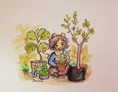 """Jennifer (Jennloop) Lindroos on Twitter: """"Trying to pep myself up for the weekend by thinking about the plant care I can do. 😅 Got seeds to plant, grown up plants to repot. Siskin green for the #colour_collective this week. """" #comicart #mouseart #iloveplants"""