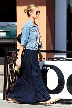 Pleated maxi with jean jacket
