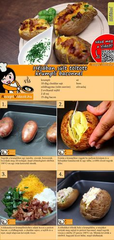 Stuffed baked potatoes with bacon recipe with video Bacon Recipes, Cooking Recipes, Benefits Of Potatoes, Stuffed Baked Potatoes, Hungarian Recipes, Orange Recipes, Stop Eating, Diy Food, Food Hacks