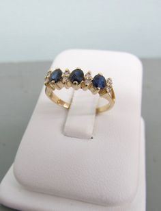 Sapphire Wedding Band 14k Yellow Gold Sapphire Ring Engagement Ring September Birthstone Ring Size 5.75