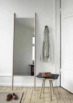 With its simple lines & slim profile, this leaning floor mirror is a lesson in Scandinavian simplicity. With a simple form inspired by a ladder, this mirror is made from solid oak and is intended to lean against the wall to form a sculptural art object. Optional wall-mounting hardware also included. With her beautiful Georg …