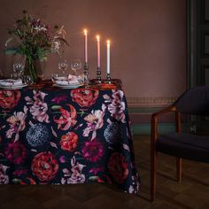 Floral Fantasia (Fantasy) pattern designed by Lasse Kovanen is inspired by a glorious mature garden. The white version bursts with pinks, peaches and greens, creating a fresh garden party vibe. The darker version is dramatic by nature and perfect for creating a cozy atmosphere to kitchen or festive table settings as autumn turns to winter. Peach And Green, Table Arrangements, Peaches, Pattern Design, Festive, Table Settings, Cozy, Autumn, Colours