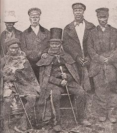 King Moshoeshoe of the Basotho with his ministers. The Basotho are a Bantu ethnic group whose ancestors have lived in southern Africa since around the fifth century. South African Tribes, Union Of South Africa, All About Africa, African Royalty, By Any Means Necessary, African Diaspora, My Black Is Beautiful, African American History, African Men