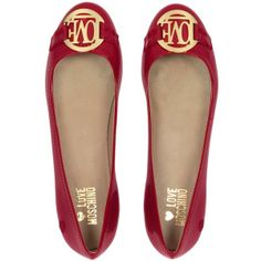 Moschino Love Moschino - Red Patent Ballerina Shoes ($151) ❤ liked on Polyvore